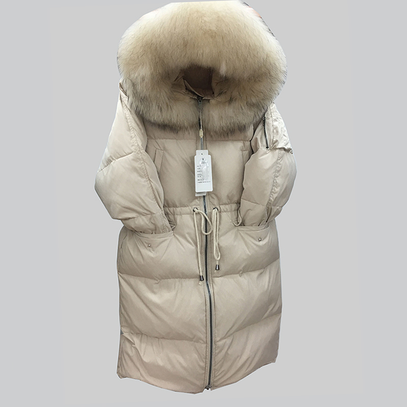 2018 New Long   Down   Jacket Women Winter White duck   down     Coats   Hooded Women Parkas Casual Loose Female Outwear Casacos Femininos
