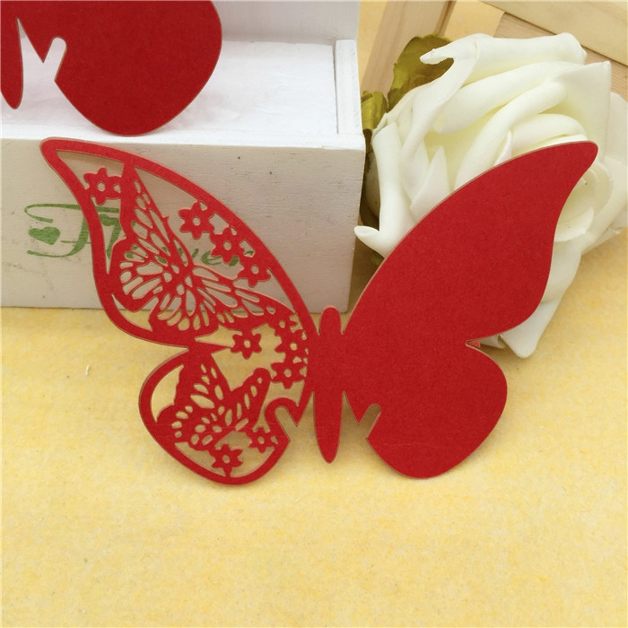 200pcs lot wine glass card table paper butterfly cup cards for Decoration table mariage