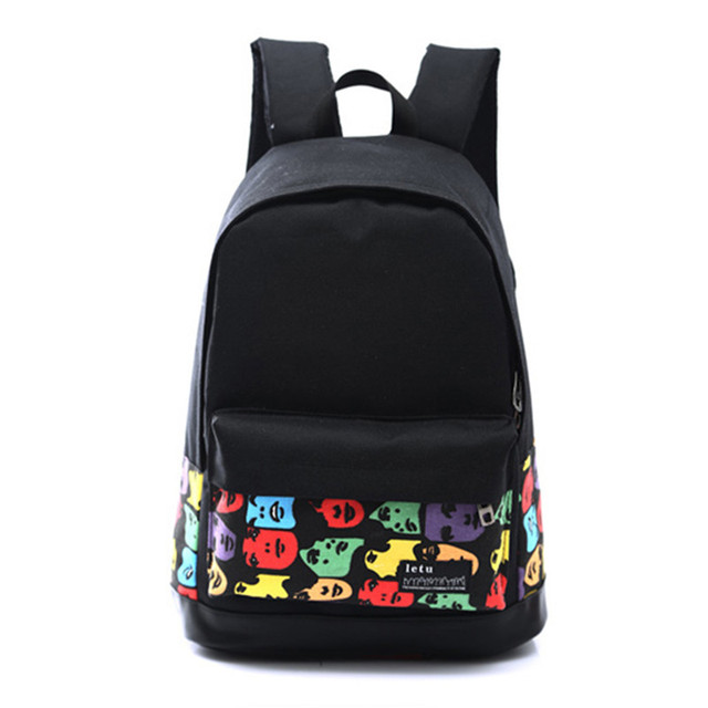 Fashion Women Canvas Printing Backpack Lightweight School Backpacks for Girls Teenagers Female Large Travel Bags 4