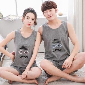 Image 3 - Hot Sale Couple Pajamas Set Summer Men And Women Sleeveless Pyjamas Vest Lovers Sleepwear Plus Size 4XL Nightwear Home Clothing