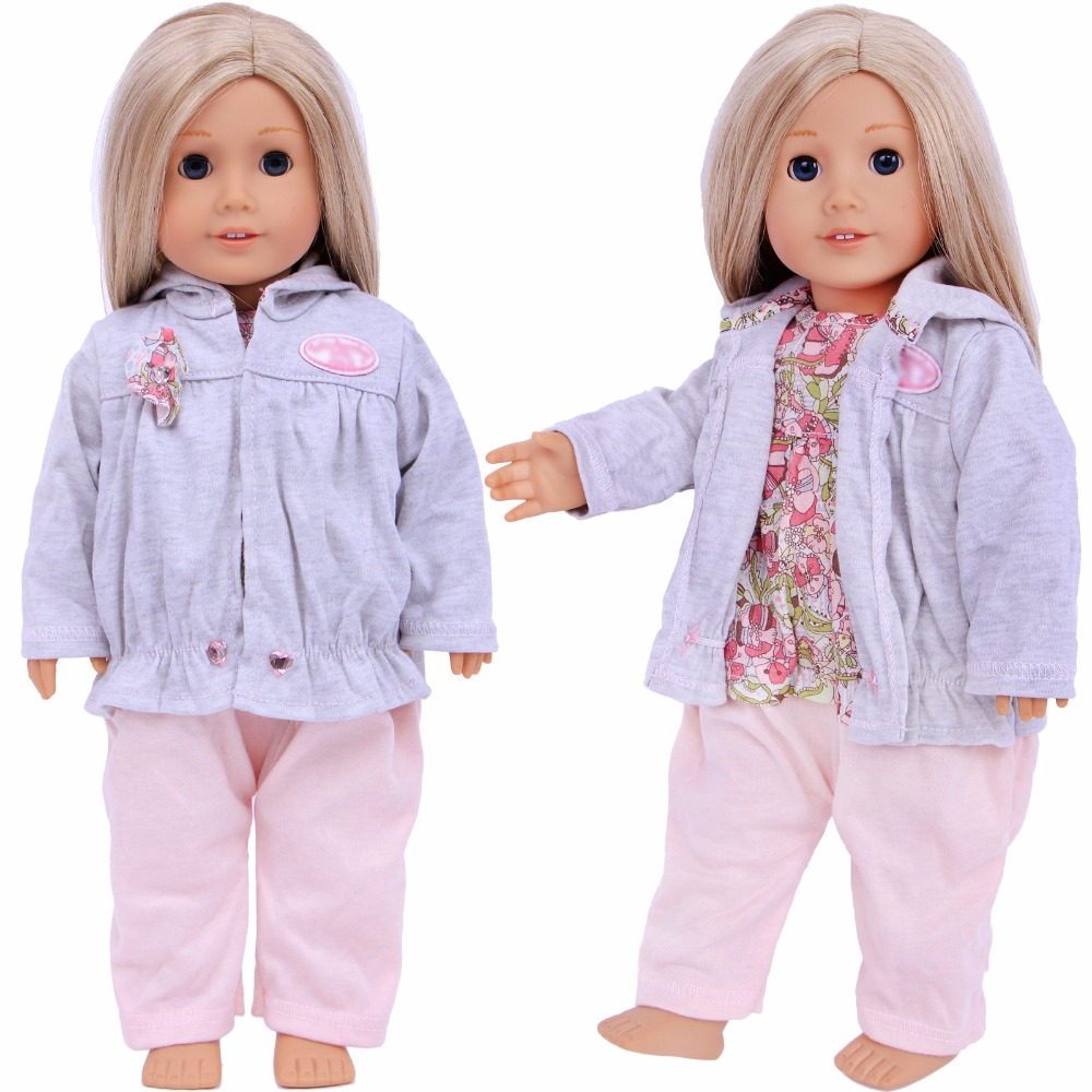 Handmade Chic Jumpsuit Flower Pattern Daily Casual Wear Sweater Clothes For American Girl Doll 18