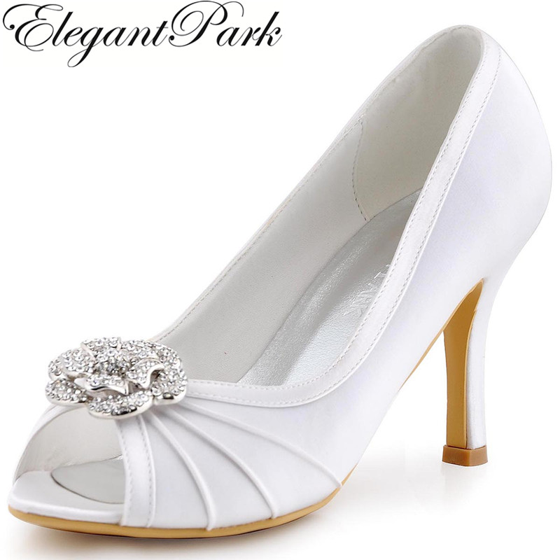 White Woman High Heel Shoes Rhinestones Clips Evening Party Pumps Satin Bride Bridesmaid Womens Wedding Bridal