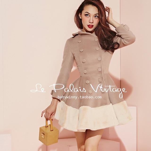 Elegant Nude Color Vintage Cute Coats Jackets Women Slim Ball Gown Dress  Lady Winter Woolen Outerwear Outfit Coat