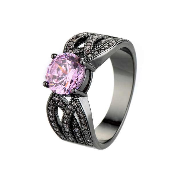 size 6 10 classical jewelry princess cut light black wedding ring pink crystal filled cz - Pink And Black Wedding Rings