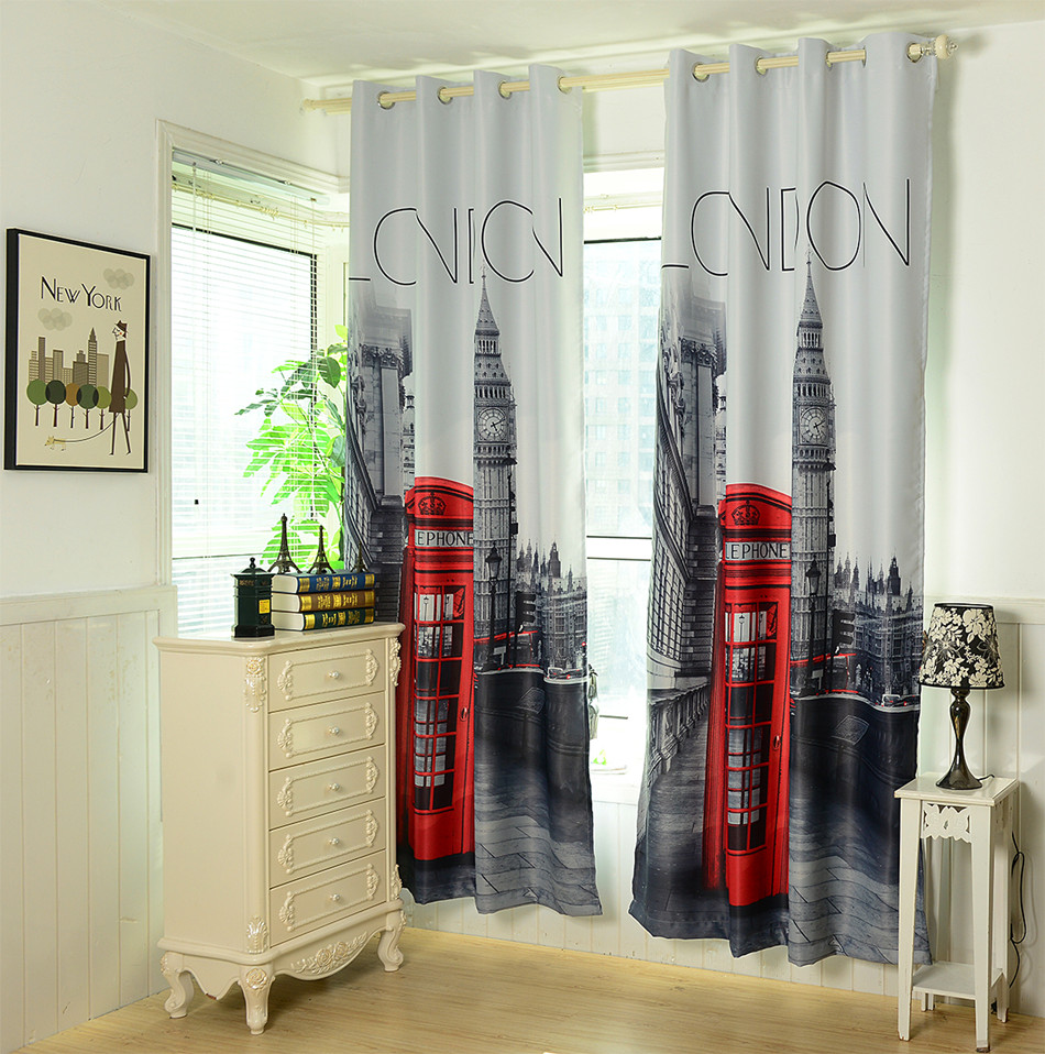 1 4x2 6 M 3d Britischen Vorhänge Günstige Schlafzimmer Vorhänge Uk London Blackout Vorhänge Kostenloser Versand Curtains For Round Windows Curtain Storescurtains Curtain Aliexpress