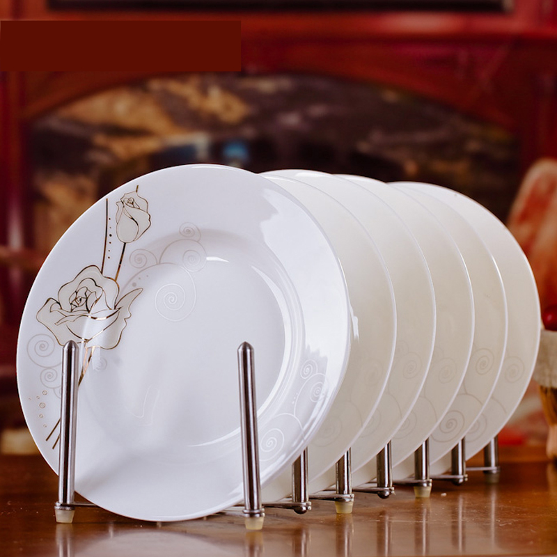 Simple Modern 6pcs Jingdezhen Bone Ceramic Tableware Set 8*inch Eternal Rose Porcelain Dinner Deep Soup Rice Dishes Plates