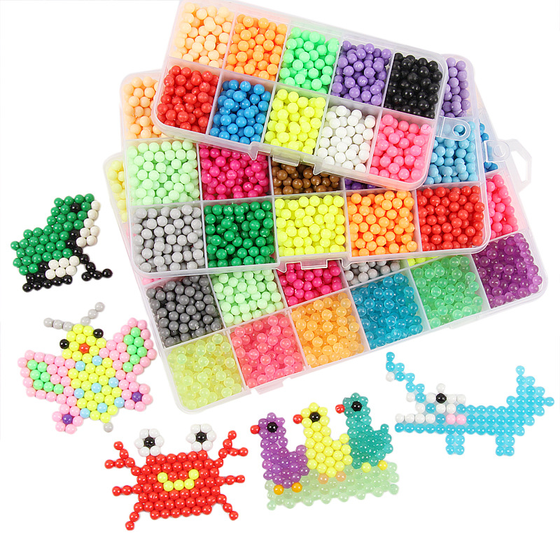 2019 Water Beads 24 Colors Toy Perler Pegboard Set Fuse Jigsaw Puzzle Water Beadbond Educational DIY Toys For Children New