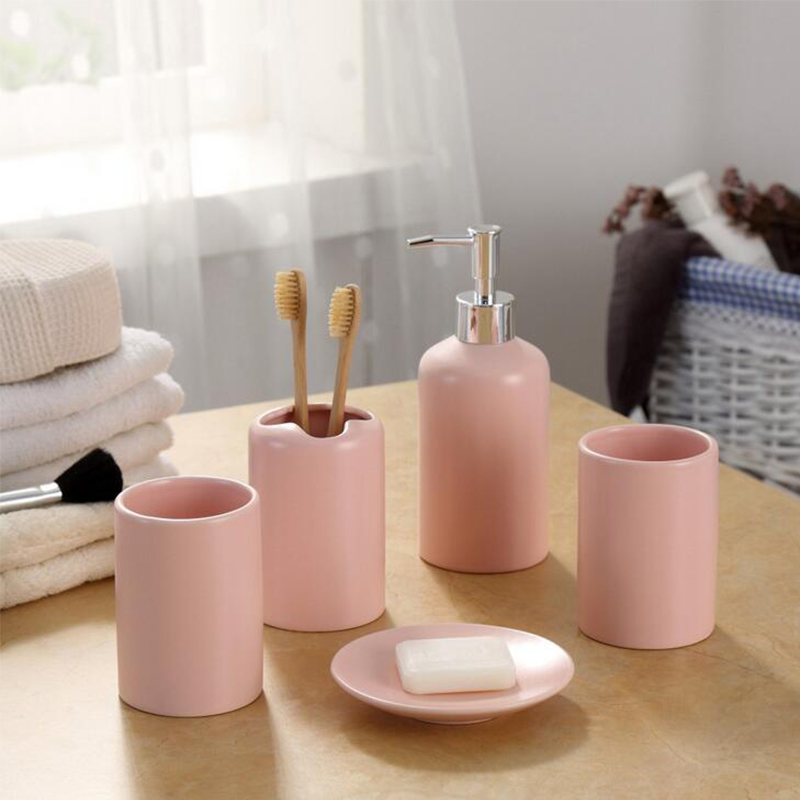 Europe 5pcs Pink Ceramic Toothbrush Holder Cup Soap Dish Shampoo Bottle Dispenser Eco-Friendly Couple Bathroom Accessories Set image