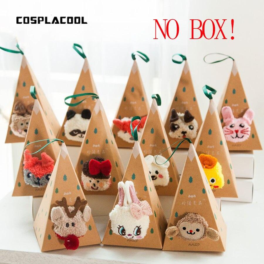 No Gift Box Winter Cute Kawaii   Socks   meias Cartoon 3D Animals Elk Sheep Panda Funny   Socks   Women Warm Christmas   Socks   NO gift box