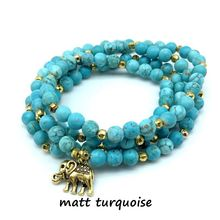 Hot Sale Fashion Stone Beads Turquoises Mala Bracelet Elastic With Metal Charms Yoga Necklace Woman Bangle Drop Shipping