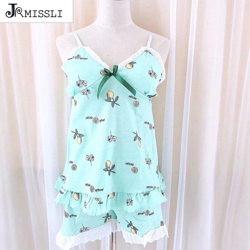 JRMISSLI Pajama Set Print Cotton Pajama Set 2018 V-Neck Spaghetti Strap Sleeveless Sleepwear Women Sexy Summer Pajama Set