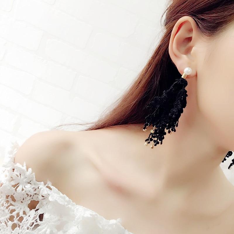 New Temperament Ladies Fringe Lace Flowers Rhinestone Pearl Long Earrings Brincos Grandes Fashion Para Mulheres Crystal Earrings