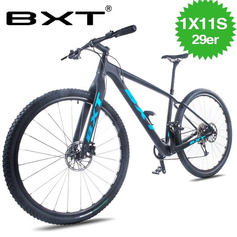 2019 nouveau carbone T800 VTT vélo 17/19 pouces 1 vitesse 1*11 S frein à huile 29er roue double freins à disque hommes et femmes
