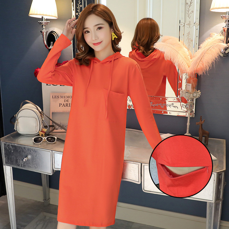 2019 New Autumn Cascul Maternity Clothes Nursing Dress For Mom Outfit Hooded Sweatshirt Breasdfeeding Dress For Pregnant Women