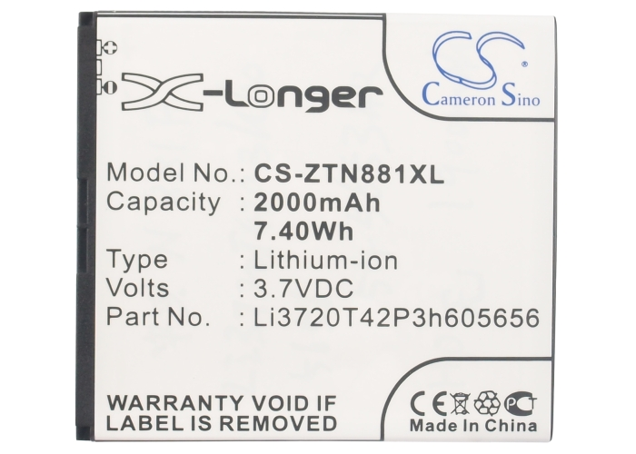 Cameron Sino 2000mAh Battery Li3720T42P3h605656 for ZTE
