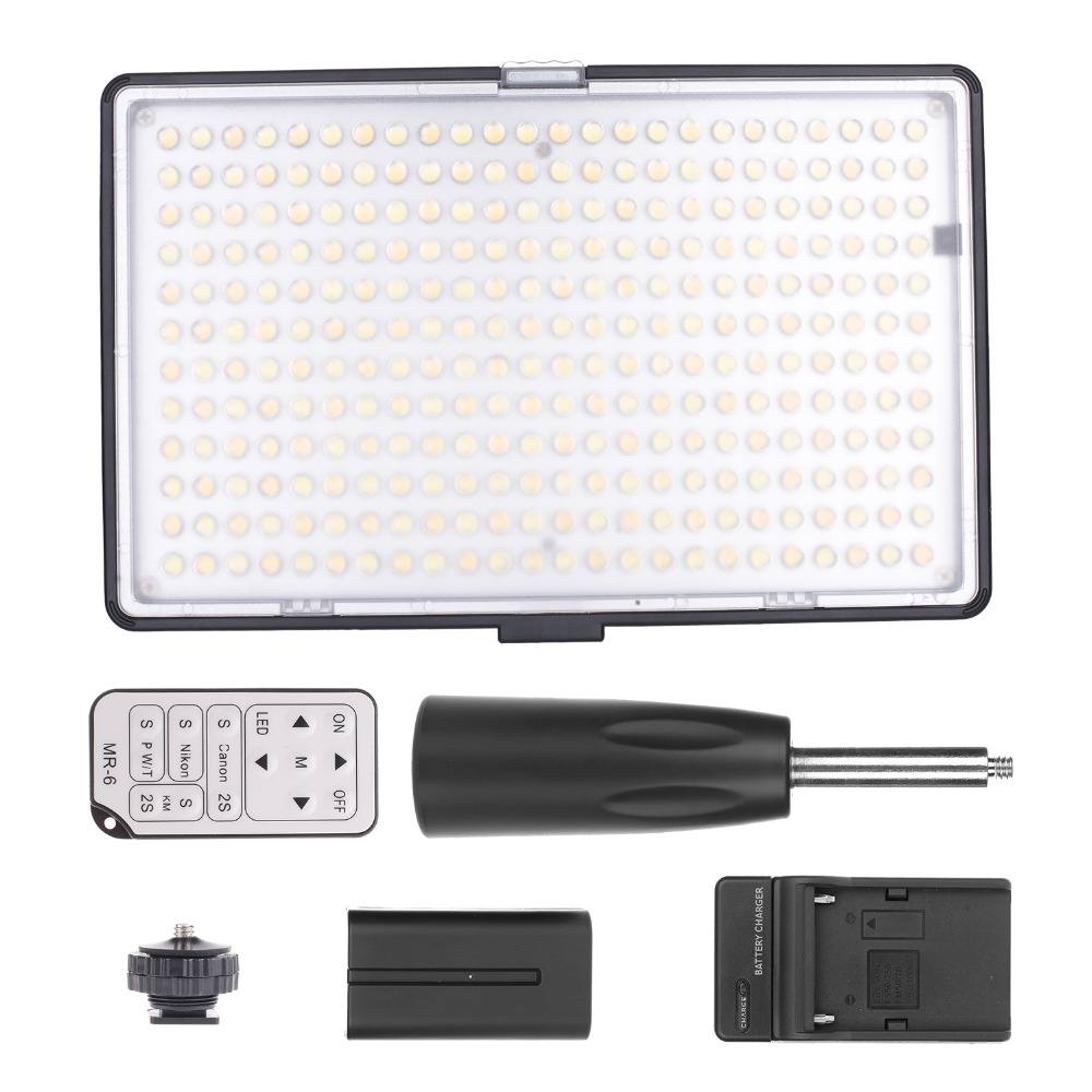 Travor 288pcs BiColor LED Video Light on Camera Light for Canon Nikon Sony DV Camcorder+NP-F550 battery+Charger+remote control led c200rs pro flapjack led c 200rs bicolor edge light 3200k 5600k camera video light for canon nikon samsung
