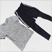 DZ18106 Men 2 piece set exercise shirt base layer running soccer sports clothing tights&Basketball pants&Leggings suit