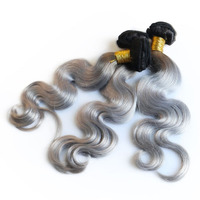 3 Ombre Hair Bundles Extensions Human Brazilian Hair Weave Bundles Two Tones Remy 1B/50 Grey Body Wave Sunny Queen Hair Products