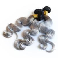 3 Ombre Пучки Волос расширения человека бразильский пучки волос плетение два тона Remy 1B/50 серый объемная волна sunny queen продукты волос