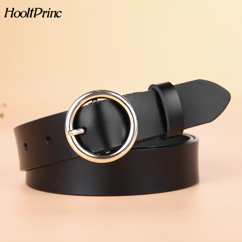 High Quality Gold Round Buckle   Belts   For Women Fashion Wide Luxury Jeans Stripes Ceinture Women Genuine Leather   Belt