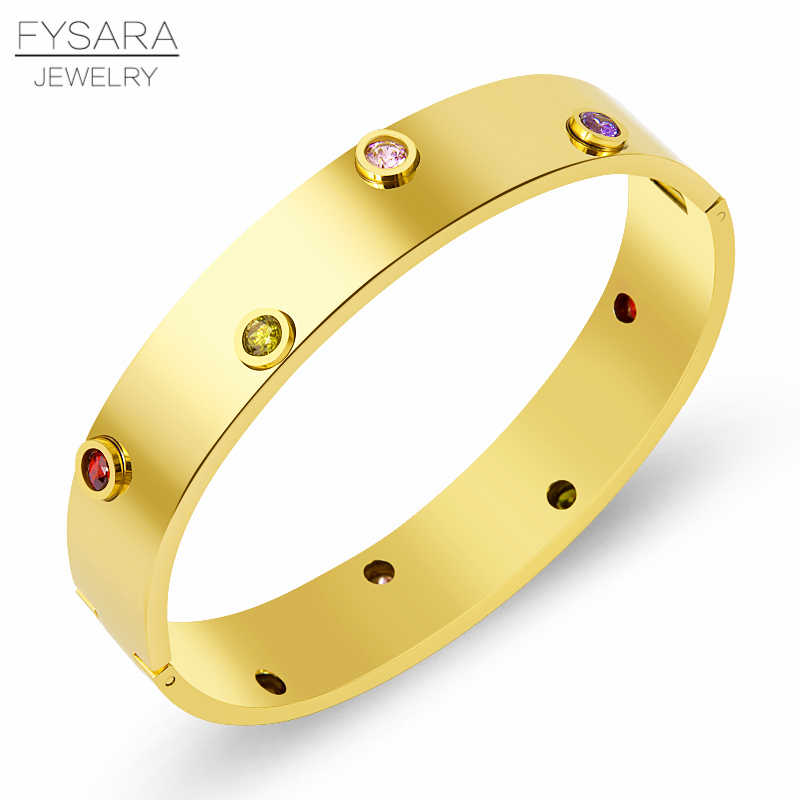 FYSARA Brand Colorful Crystals Luxury Bangle For Women Cubic Zirconia Love Bangle Gold Color Stainless Steel Classic Jewelry