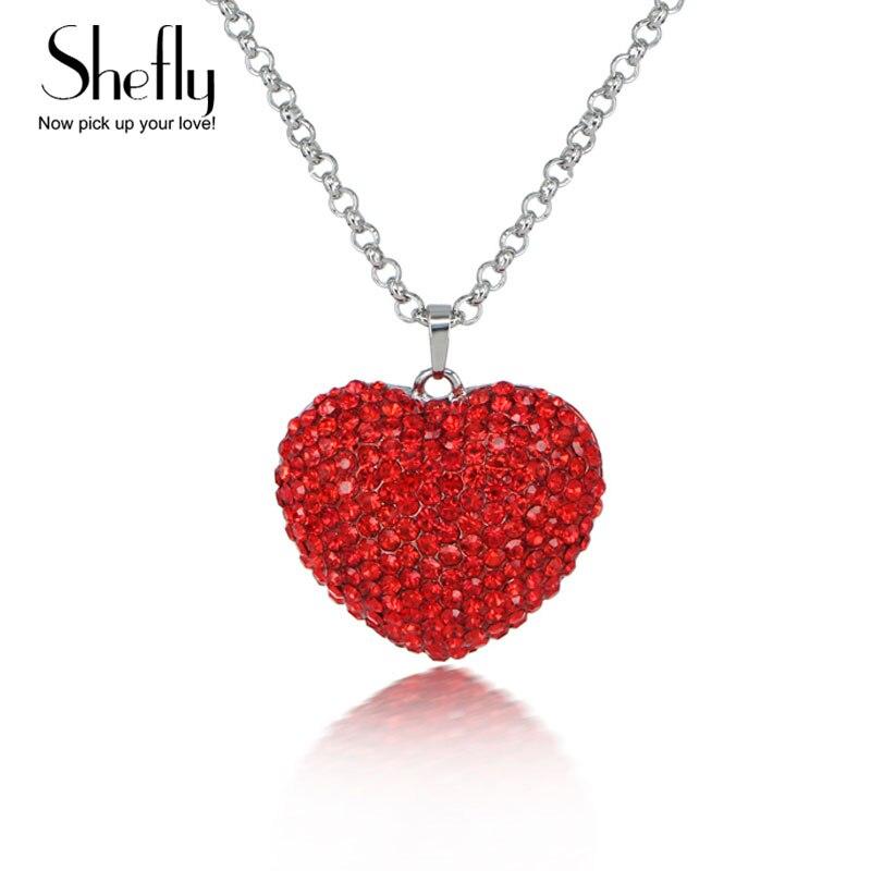 2017 אדום קריסטל קסם לב שרשרת נשים קצר צוואר אביזרי קולר שרשראות לנשים שרשראות & תליוני XL00010 קוקר