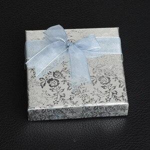 Image 3 - De Bijoux 18Pcs/lot 9*9Cm Silver Square Bow Paper Bracelet Bangle Wristwatch Jewelry Gift Box Paper boxes with ribbon favor box