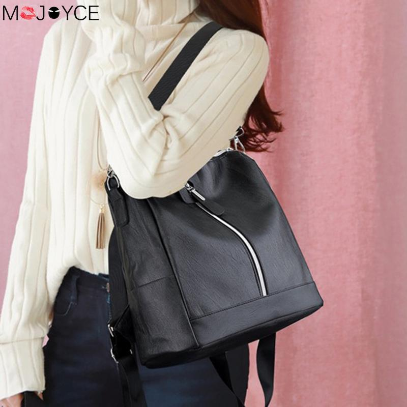Leather Backpack Mochila Women Big Zipper Backpack Student Bag Backpack Female Large Casual Travel Bags Mochila Feminina Sac #3