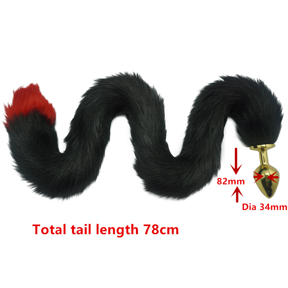 New black red color 78cm length fox Tail golden Dia 34mm Large Anal Plug Metal Butt plug Role Play Flirting Fetish sex Toy Women