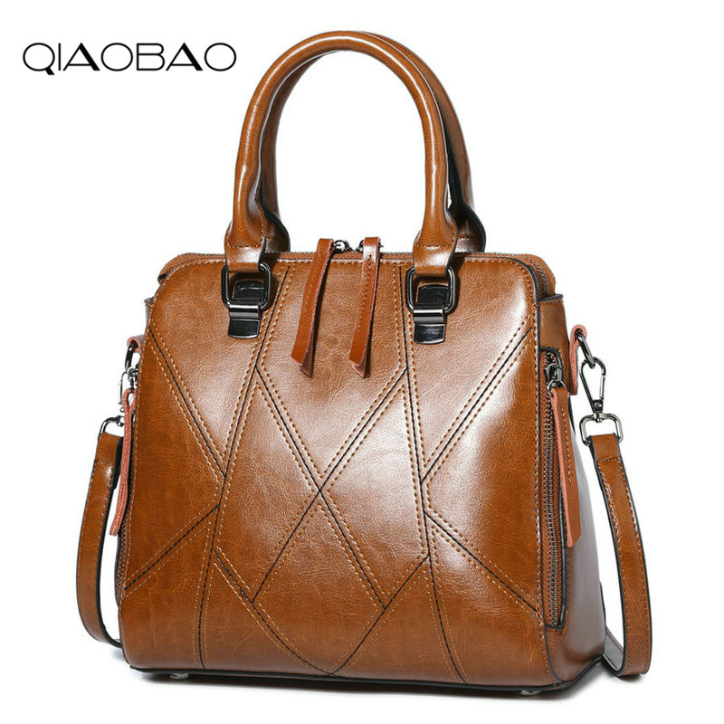 QIAOBAO Brand Genuine Leather Women Handbag Cow Leather Patchwork Shoulder Bag Fashion Women Messenger Bag Tote Bags sac a main 2016 women leather handbag women messenger bag sac a main brand designs women shoulder bag fashion weaving tote bag purse 3 sets