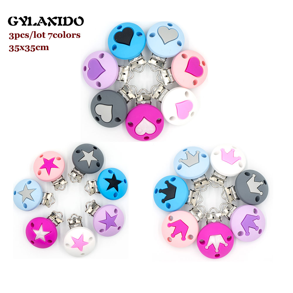 3Pc Crown Heart Star Pacifier Clips Round Dummy Clips Silicone Pacifier Chain Holder Baby Teether Nipple Clasp Teething Toys