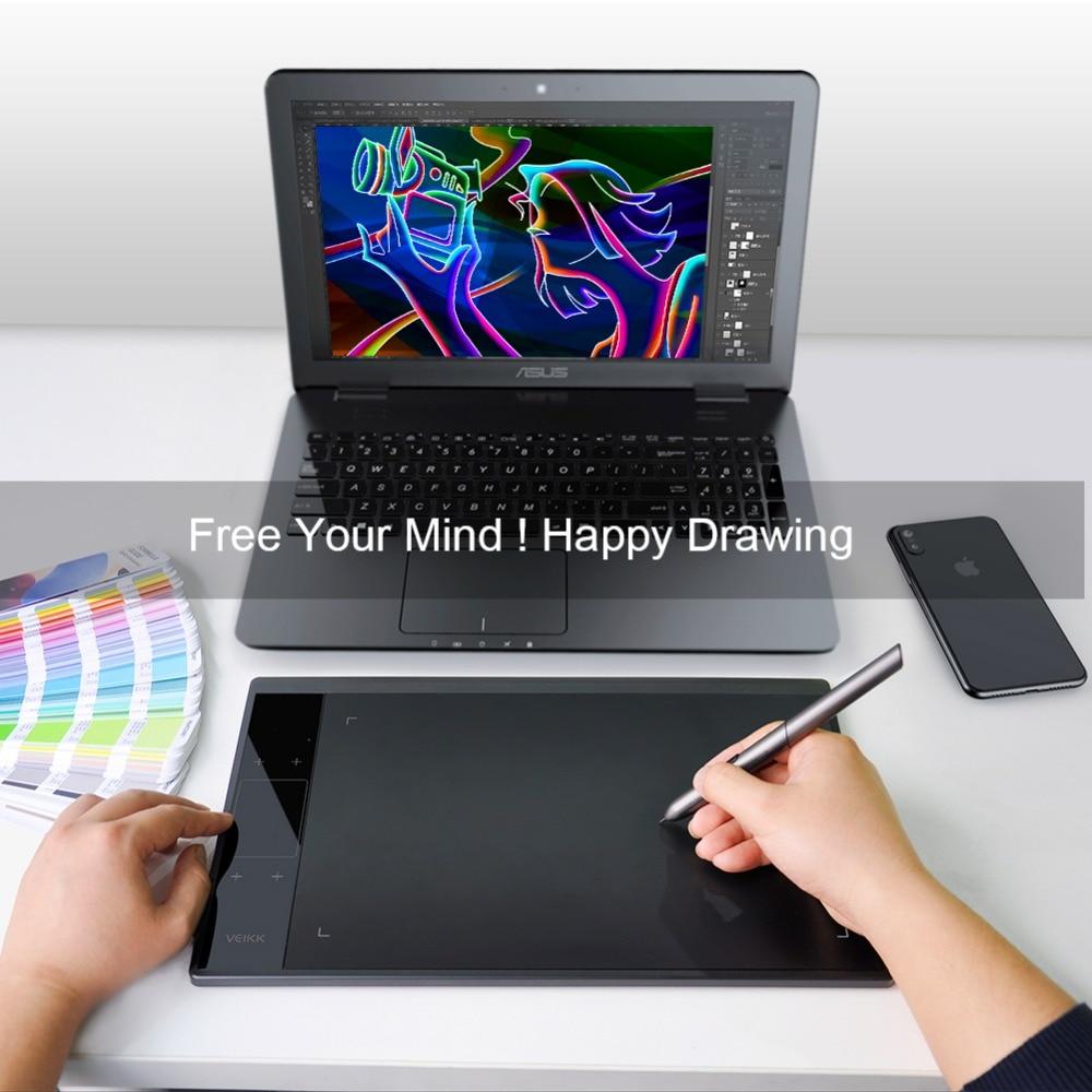 Tablette de dessin VEIKK A30 10x6 pouces grandes tablettes graphiques de dessin numérique à zone Active avec 8192 niveaux de sensibilité à la pression