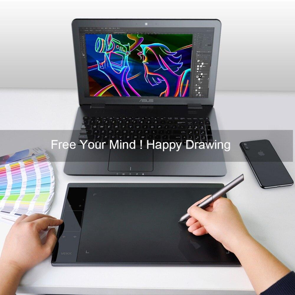 VEIKK A30 tableta de dibujo 10x6 pulgadas gran área activa de dibujo Digital tabletas gráficas con 8192 de presión en los niveles de sensibilidad