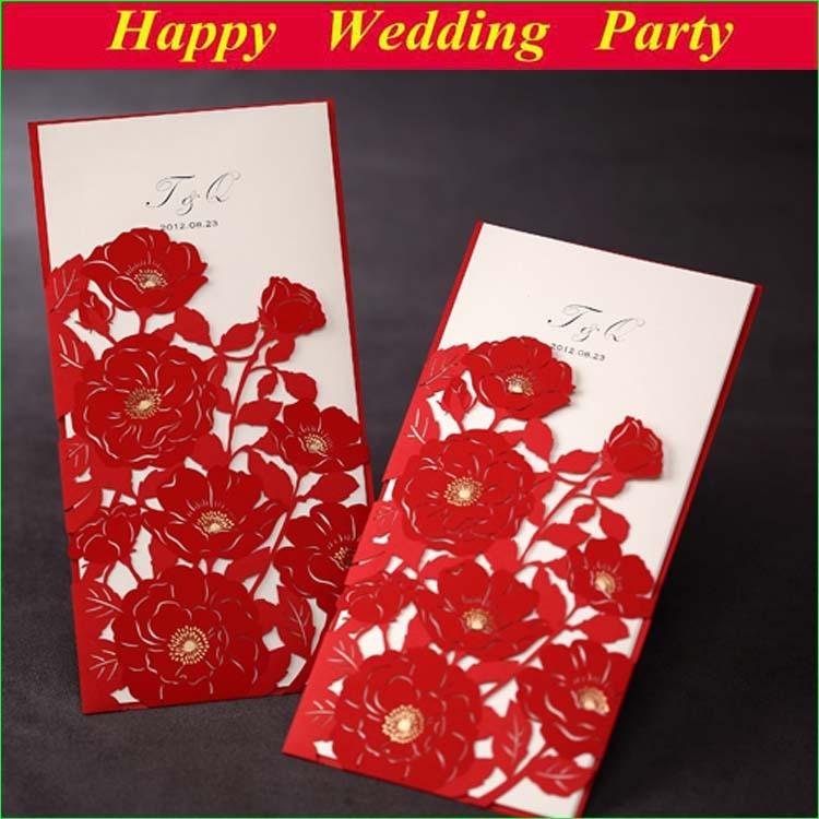 elegant flower wedding invitations red laser cut card wedding