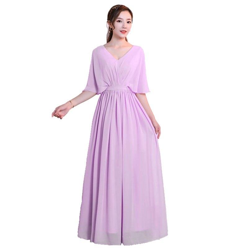 Beauté Emily nouveauté col bateau longues robes de demoiselle d'honneur en mousseline de soie élégant dos à lacets 5 Styles disponibles robe d'invité de mariage