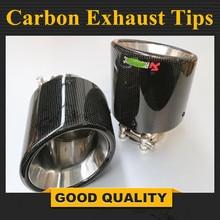 Car Styling 1pcs Muffler Inlet48 80mm outlet 114mm Glossy Carbon Fiber M uffler Universal Pipe Tip