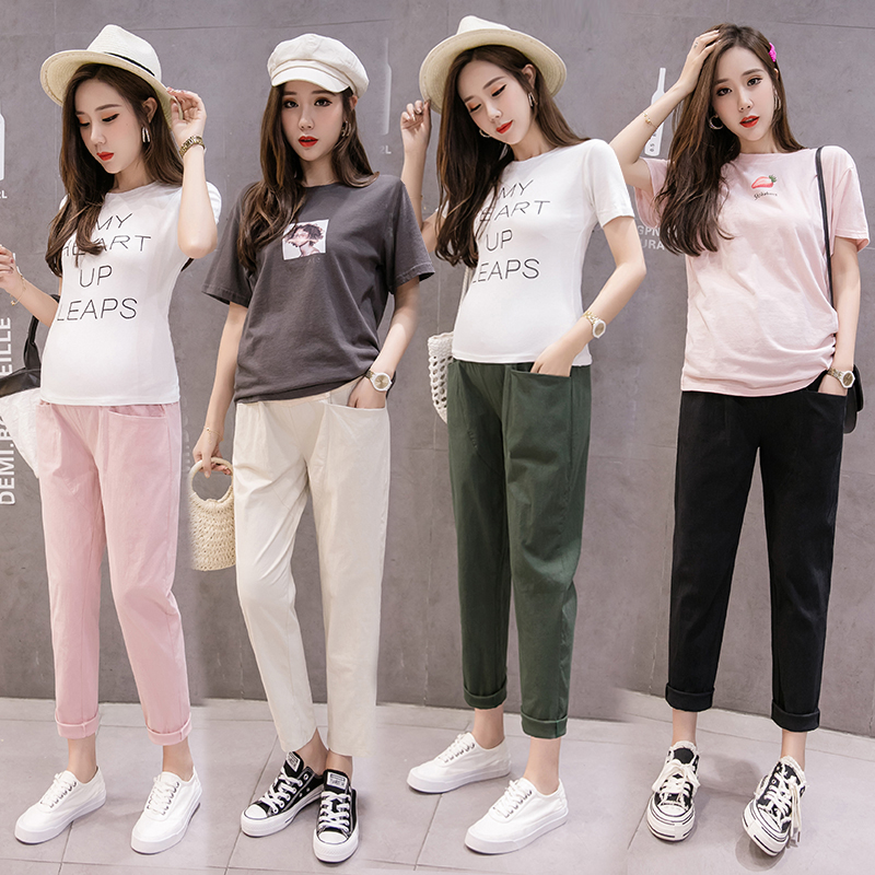 New Summer Cotton Linen Maternity Trousers Solid Color Stomach Lift Pregnant Pants Fashion Casual Harem Pants Pregnancy Clothes in Pants Capris from Mother Kids