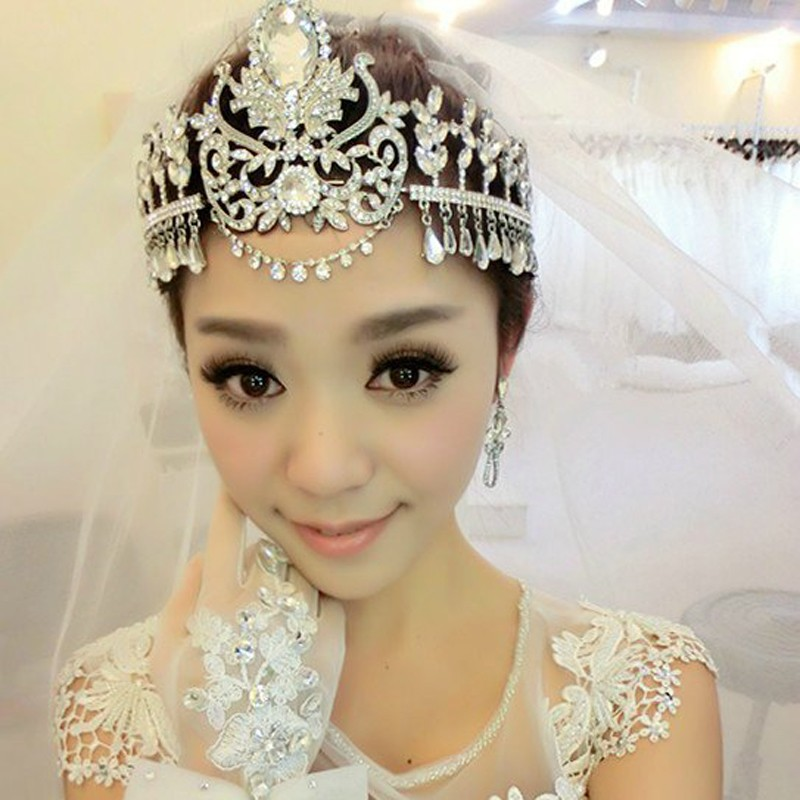 12pcs lot Noble Women 39 s Crystal Tassel Tiara Headpiece Wedding Party Headdress Hair Adornment jt113 in Hair Jewelry from Jewelry amp Accessories