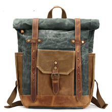 цена на Camera Bag Retro Genuine Leather Canvas Bag Portable Waterproof Backpack Shoulder Wax Travel Men's Backpack