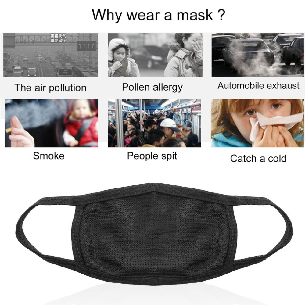 Men's Accessories Face Mask Cotton Mouth Mask Black Anti Haze Dust Masks Filter Windproof Mouth-muffle Bacteria Flu Fabric Cloth Respirator