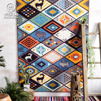 2018 New Modern fashion collision color national wind carpet geometry home tea room rug living room rectangular floor mat