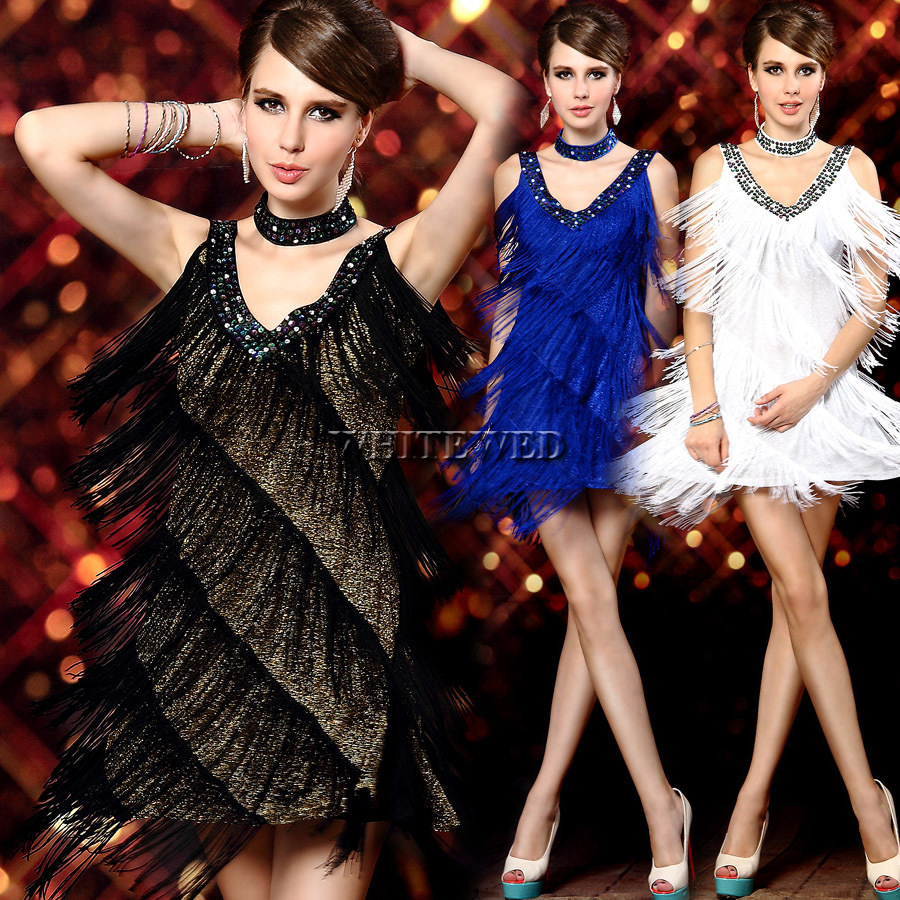 1920s Sexy V Neck Beade vintage Sequin Mini Flapper Dress costume Clothes Dance Wear Party City with Fringe And Tassel  for Prom girl
