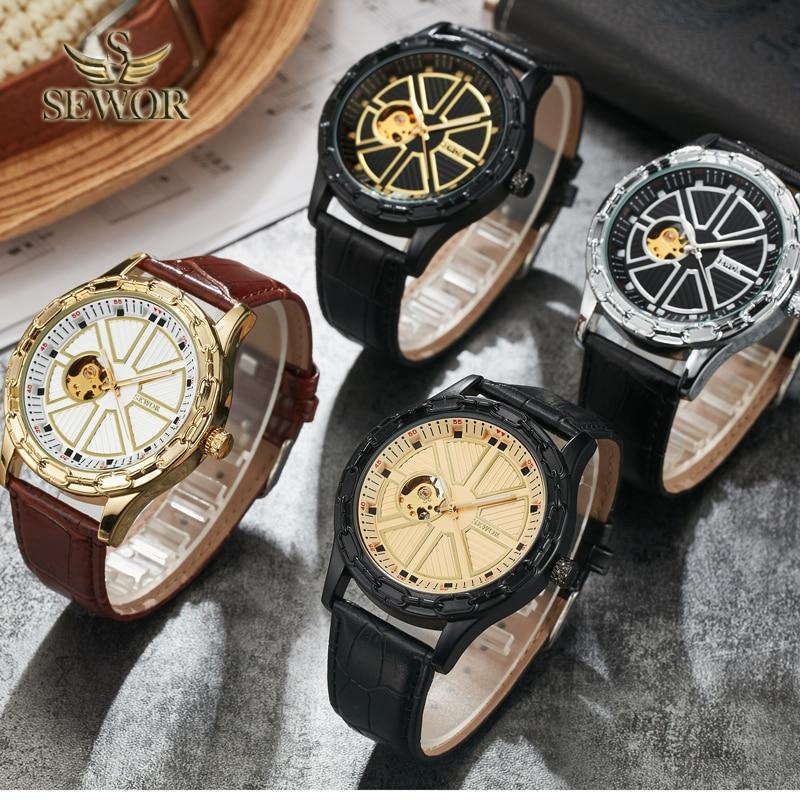 SEWOR 2019 Luksusowa marka Chalet Yoke Shape Mens automatyczny - Męskie zegarki - Zdjęcie 6