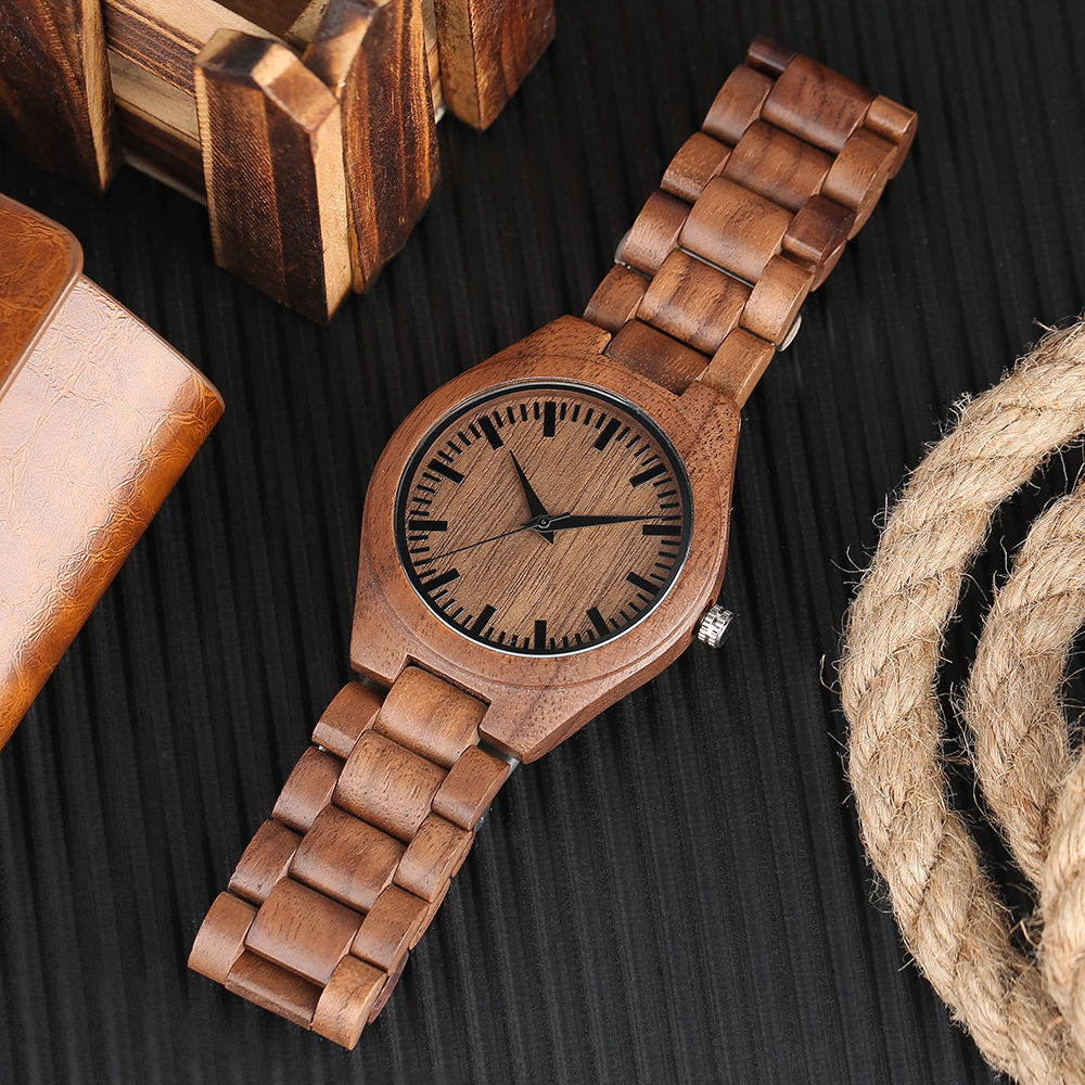 YISUYA Nature Bamboo Wood Creative Watches Men Casual Sport Wooden Quartz Wrist Watch Men Women Flod Clasp Band Bangle Clock  (24)