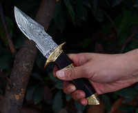 Voltron Double Copper Wood Damascus Steel Tactical Knife Outdoor Camping Multifunction Knife Collection Gift Knife