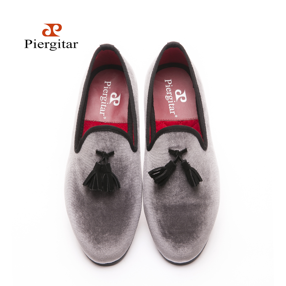 2016 New Style Handmade Loafers Gray Velvet Men Shoes With Black Suede  Tassel Fashion Party Dress Shoes Menu0027s Flats In Menu0027s Casual Shoes From  Shoes On ...
