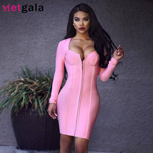 Long Full Sleeve Black Pink Bandage Dress