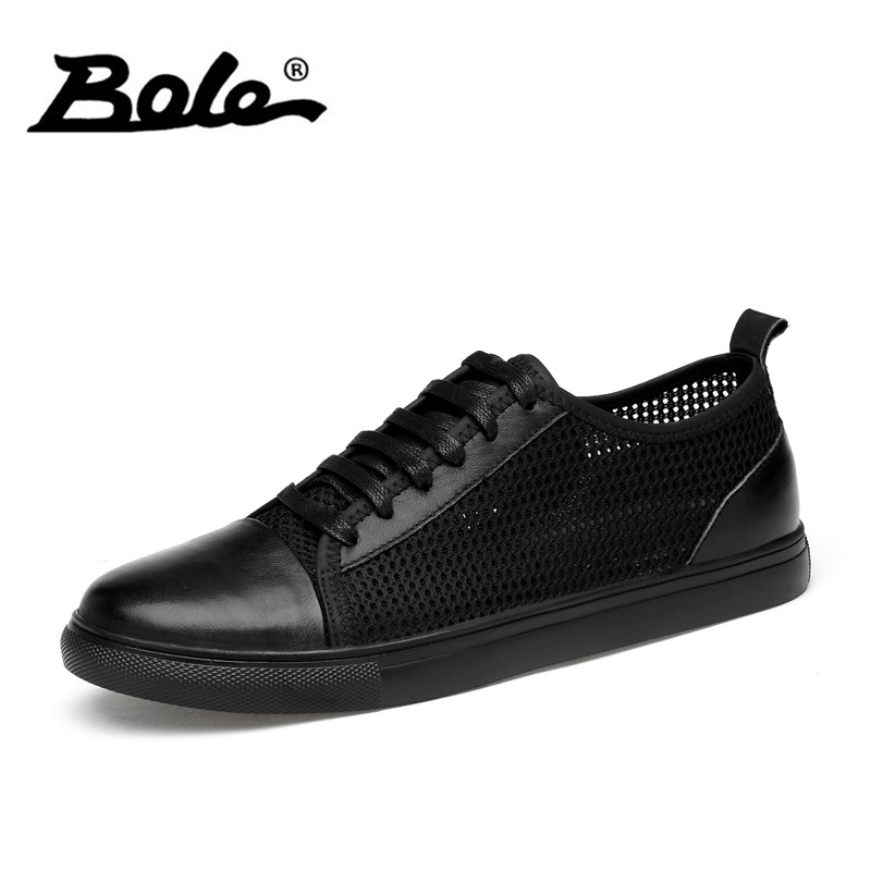 BOLE Summer Mesh Breathable Casual Shoes Men Genuine Leather Lace Up Sneakers Patchwork Fashion Men Flats Large Size 38-46 forudesigns music notes with piano keyboard printed casual men sneakers flats fashion men lace up breathable mesh shoes men 2018