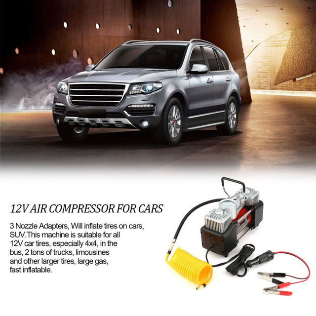 12V 150PSI Portable Emergency Heavy Duty 2 Cylinder Car Air Compressor Tire Inflator Pump Universal for Car Trucks 1