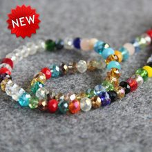 Untuk Kalung Gelang 4x6mm Multicolor Faceted Biru Colorful Kaca Kristal Beads Setengah Jadi Batu Longgar 100 pcs Membuat perhiasan(China)